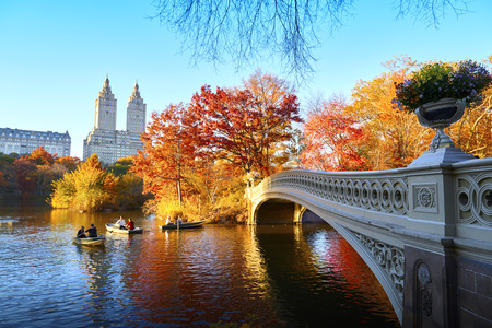 The Bow Bridge is a cast iron bridge located in Central Park, New York City Stock Photo