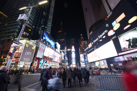 led lighting: NEW YORK, USA - November 17, 2016.  Times Square  at Night and LED Advertising Lighting up the Place in Manhattan, New York Editorial