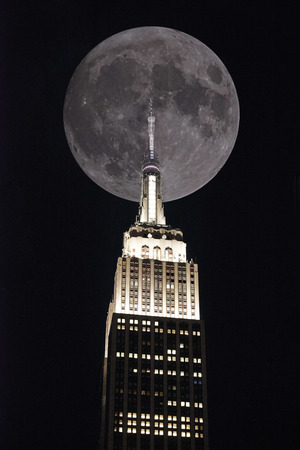 new york city times square: Empire state building on the background a full moon