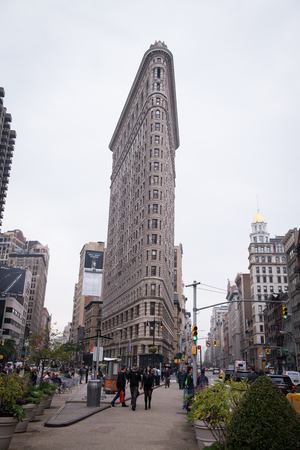 NEW YORK CITY -  Flat Iron building facade from Broadway on November 15, 2016 in Manhattan, New York City. The Flat Iron building