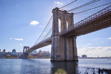 The Brooklyn Bridge and Lower Manhattan skyline seen from Brooklyn Bridge Park.