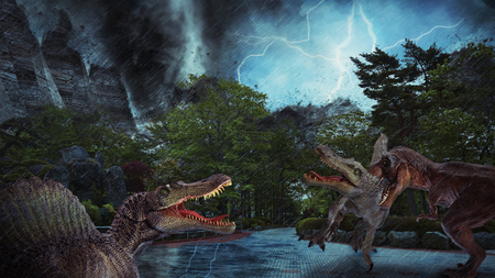 dinosaur scene of the two dinosaurs fighting each Imagens