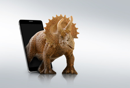 close up dinosaur through the mobile background Stock Photo