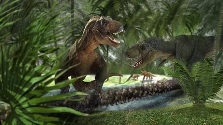 scene of the giant dinosaur destroy the park Stock fotó - 69267570