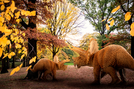 scene of the giant dinosaur destroy the park