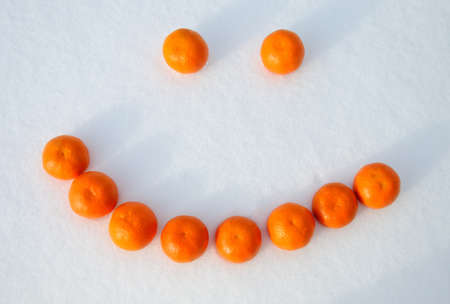 composed: Smile, composed of oranges in the snow