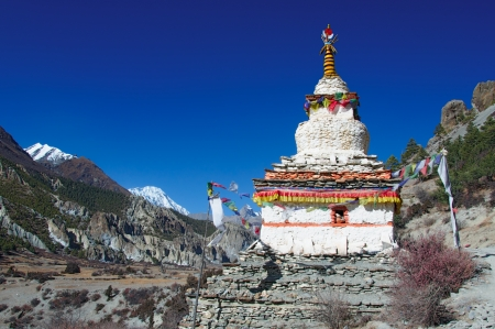 The Buddhist stupa in the background of the Himalaya Stock Photo - 13680126