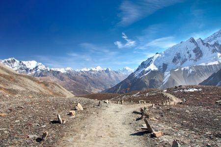 A scenic trail to the lake Tilicho in Nepal Stock Photo