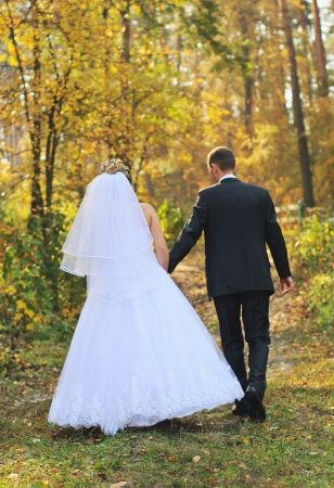 Newlyweds walking in the yellow autumn forest photo
