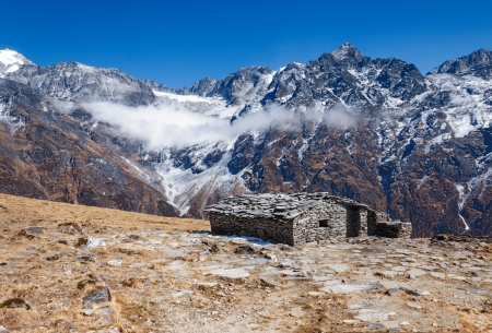 Stone stall at the summer pastures in the Himalayas