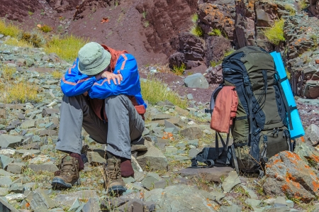 dyspnea: Trekker resting in height mountain  India