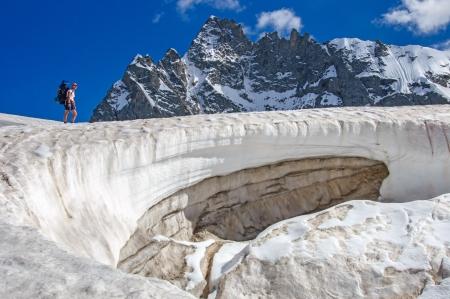 crevasse: Man on the glacier  Georgia mountain
