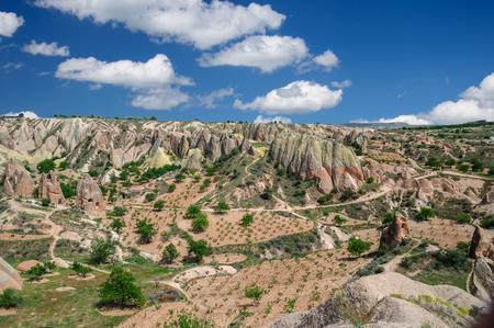 Panoramic rural view of Cappadocia - Turkey. Garden in the Red valley