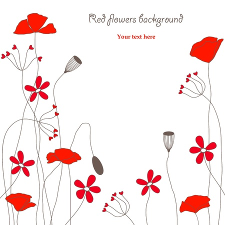 red flowers background Vector