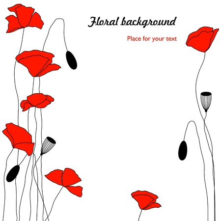 floral background with red poppies Stock Vector - 18403865