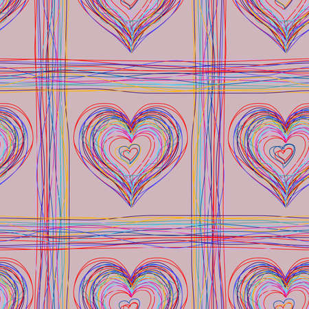 colored pencil seamless check with hearts  Vector