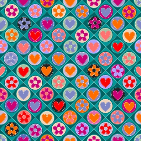 seamless check with hearts, flowers and stitches Stock Vector - 18985504