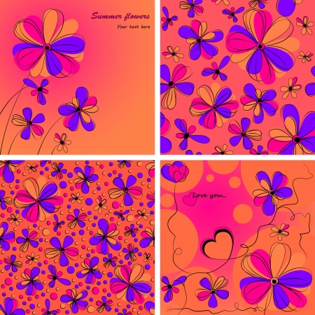a set of two seamless patterns with bright flowers and two cards Illustration