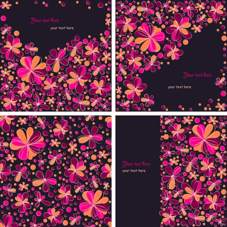 Set of three floral cards and a seamless pattern Vector