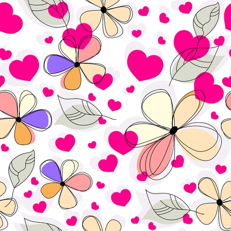 cute seamless pattern with flowers and hearts Vector