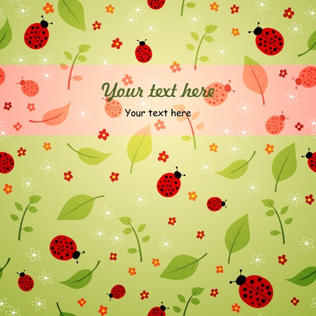 summer background with leaves, flowers and ladybirds Vector