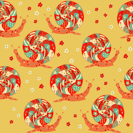 colorful seamless snails Vector
