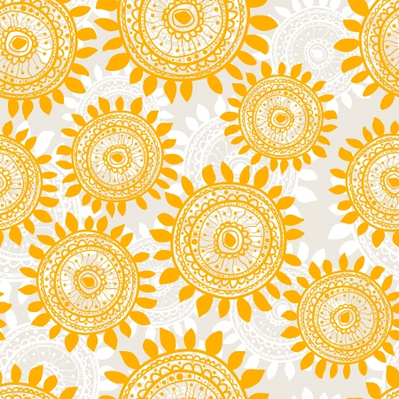 seamless stylized sunflowers Vector