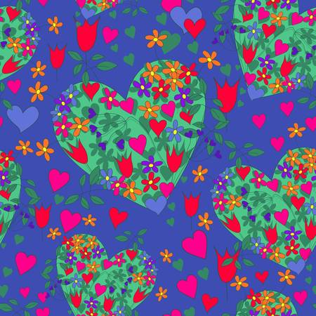 seamless floral hearts Vector