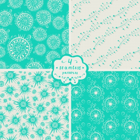 set of four seamless patterns Illustration