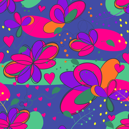 crazy floral seamless pattern Illustration