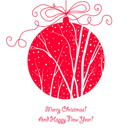 elegant christmas card with hanging ball, trees and snow