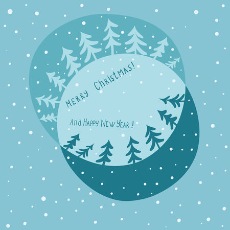 christmas card with firtrees and snow Illustration