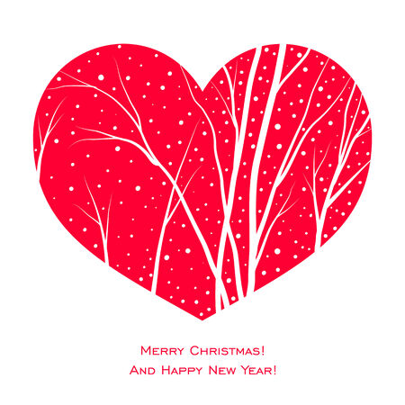 elegant christmas card with red heart, trees and snow Vector