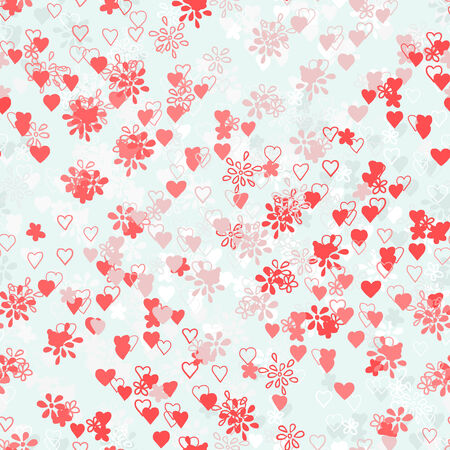 seamless flowers and hearts Vector