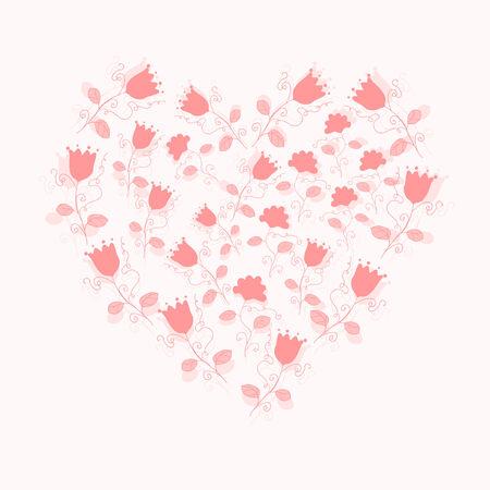 gentle pink floral heart Illustration