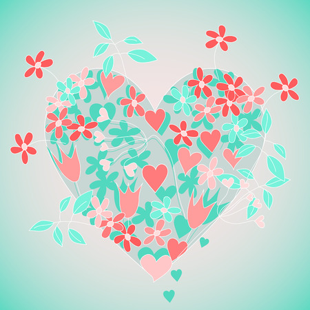 pink and green floral heart
