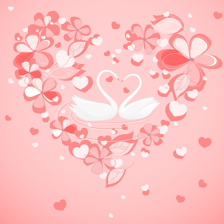 two swans in the floral heart shaped frame  Vector