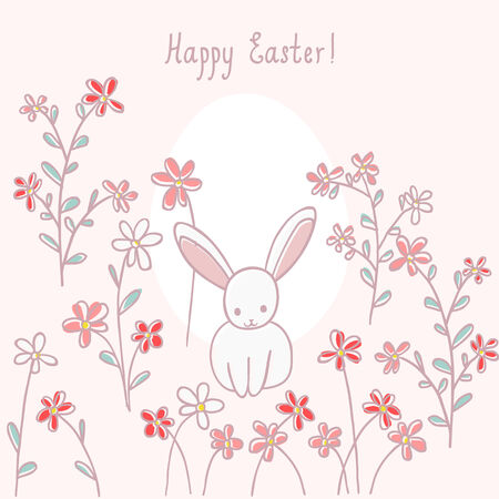 cute easter card with rabbit and flowers
