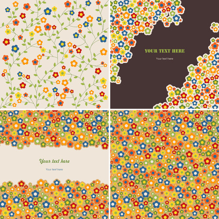 set of two seamless patterns and two floral cards