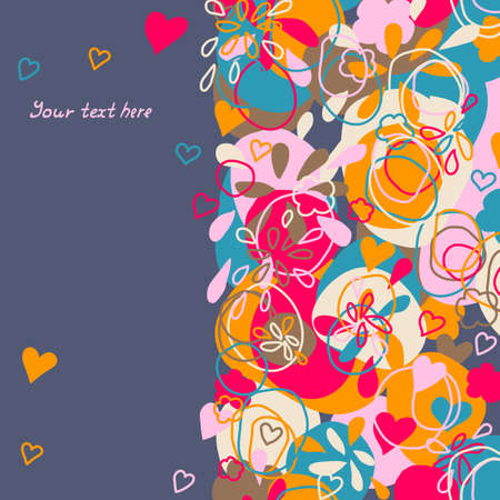 colorful card with flowers, hearts and abstract spots Illustration