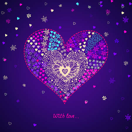 colorful card with heart