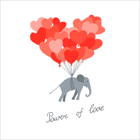 Cute Valentines day card with elephant flying on the balloons