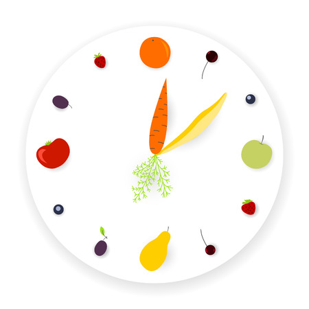 Clock made of fruits and vegetables