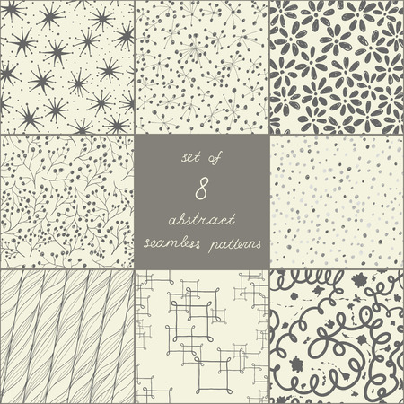 Set of eight abstract seamless patterns
