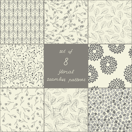 Set of eight seamless floral patterns