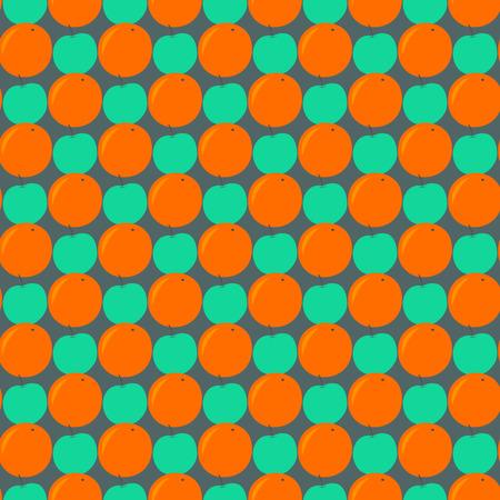 Seamless pattern with apples and oranges