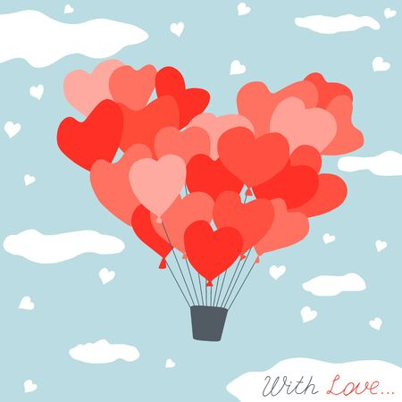 Cute Valentines day card with zeppelin made of heart shaped helium balloons Illustration