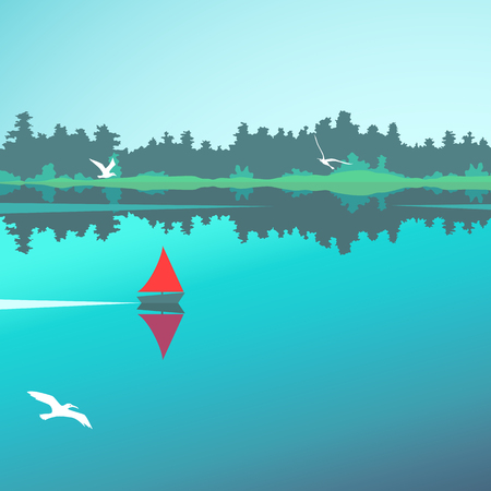 Vector landscape with lake, forest and boat Vettoriali