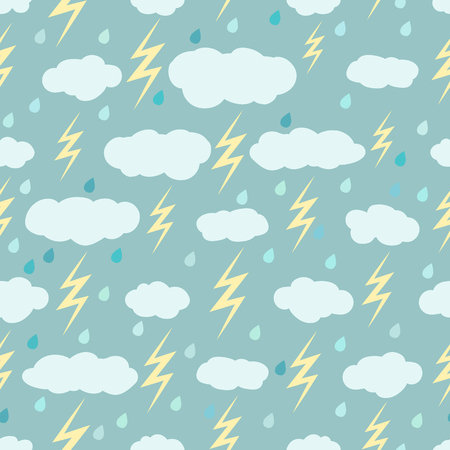 Rainy seamless pattern with clouds, lightnings and raindrops