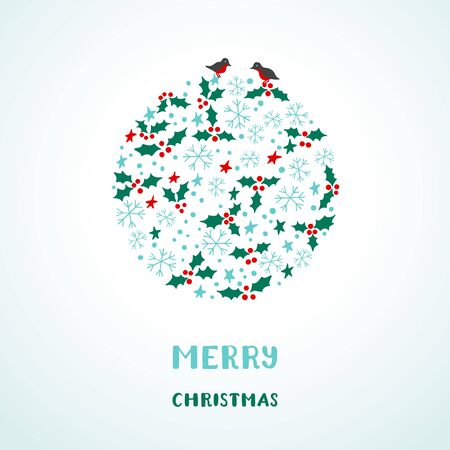 Christmas card with snowflakes, stars, birds, and holly Çizim